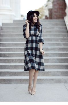 This dress is perfect for winter, with a lovely plaid pattern and ruffled sleeves. Our Alessandra Plaid Dress comes in Black and Red! Fits true to size Polyester, Spandex Model is wearing size medium Modest Dresses, Stylish Dresses, Modest Outfits, Cute Dresses, Dress Outfits, Casual Dresses, Short Dresses, Cute Outfits, Dresses For Work