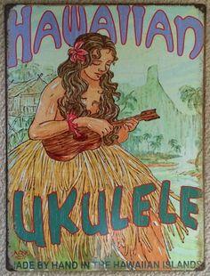 """Hawaiian Ukulele 12 1/2"""" x 16"""" tin sign"""