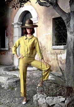 fregole.com #fregole #hat Summer suit by Pierre Cardin, shoes Charles Jourdan, 1964