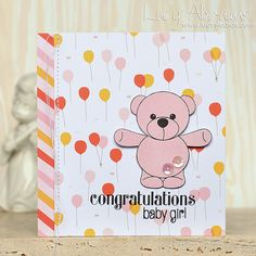 Baby Girl by Lucy Abrams Baby Shower Cards, Baby Cards, Congratulations Baby Girl, Pretty Pink Posh, Kids Cards, Creative Cards, Crafts To Do, I Card, Cardmaking