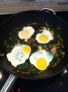 Nargessi Esfanj: Eggs and spinach from The Pomegranate Diaries blog http://thepomegranatediaries.com/2013/10/30/nargessi-esfanaj-persian-spinach-and-eggs/
