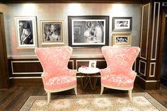 pink damask baroque chairs + huge black & white pics + leopard & rose print carpet