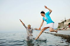 Jump in the Adriatic sea... fabulous end of the engagement session in Piran, Slovenia www.samorovan.com