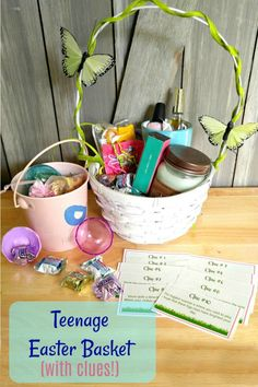 As your child gets over, they may not want to hunt for Easter eggs anymore. Keep the fun going with this teenage Easter Basket. It's a mix of makeup, sweet treats and other items that appeal to teens. Easter Egg Hunt Clues, Easter Eggs, Easter Food, Easter Brunch, Easter Party, Easter Projects, Easter Ideas, Easter Scavenger Hunt, Homemade Easter Baskets