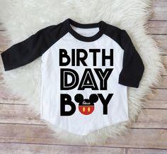 Birthday Boy Mickey Mouse Personalized Raglan Shirt, Mickey Birthday, Birthday Boy Shirt, Boys Clothing, Toddler Birthday Shirt, Kids Clothe by NewFriendsDesigns on Etsy https://www.etsy.com/listing/513934573/birthday-boy-mickey-mouse-personalized