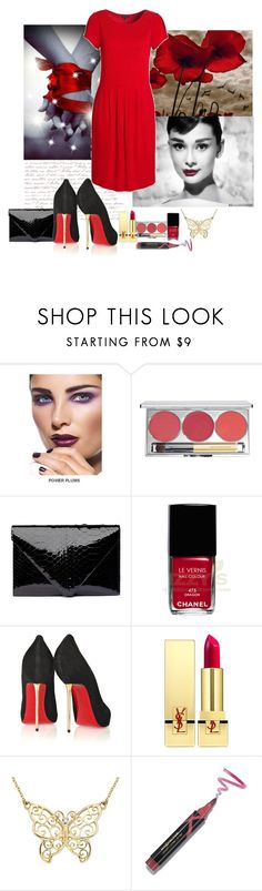 """""""red black"""" by anita2 ❤ liked on Polyvore featuring Nexus, Sephora Collection, Chantecaille, Hunting Season, Chanel, Christian Louboutin, Yves Saint Laurent, Ice, Max Factor and Jaeger"""