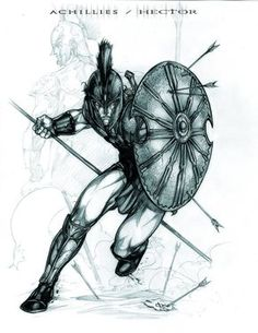 Achillies Hector by caananwhite on DeviantArt Tattoo Guerreiro, Art Sketches, Art Drawings, Spartan Tattoo, Greek Mythology Tattoos, Achilles And Patroclus, Greek Warrior, Spartan Warrior, Warrior Tattoos