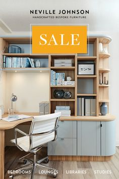 Neville Johnson has over 30 years' in creating innovative fitted furniture. We have stunning collections of fitted furniture and staircase renovations. Study Table Designs, Study Room Design, Modern Study Rooms, Study Office, Office Desk, Bespoke Furniture, Home Office Design, Home Office Furniture, Shelving