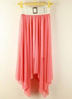 www.ustrendy.com, Belt Waist Irregular Hem Chiffon Skirt,  Skirt, Irregular Hem Skirt  Chiffon Skirt  Belt, Chic