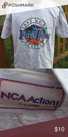 Vintage 1995 NCAA Final Four Seattle T Shirt Size XL. No graphics on back. Be sure to view the other items in our closet. We offer both women's and Mens items in a variety of sizes. Bundle and save!! Thank you for viewing our item!! Vintage Shirts Tees - Short Sleeve