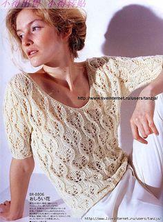 Кремовый ажурный джемпер с укороченным рукавом (спицы).. | Вязание спицами | Постила