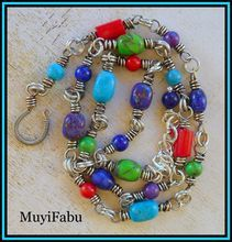 Turquoise, Lapis, Coral Sterling Silver Necklace