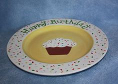 Handpainted Ceramic Festive Happy Birthday by FlutterbyConnections, $23.95