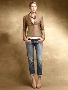 Nice glamorous casual style—crepe jacket • silk Charmeuse cami • boyfriend jeans❣