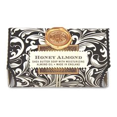 Michel Design Works Honey Almond Large Bath Soap Bar-These substantial / 260 gram bars contain only the finest ingredientspure vegetable palm oil, glycerine, and rich, moisturizing shea butter. Almond Bars, Fine Stationery, Honey Almonds, Shea Butter Soap, Butter Bar, Soap Maker, Body Cleanser, Soap Packaging, Pretty Packaging