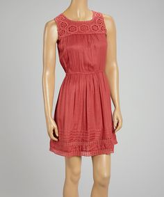 Another great find on #zulily! Sweet Sinammon Rust Crochet-Bib A-Line Dress by Sweet Sinammon #zulilyfinds