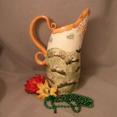 Sheep Frolicking in the Sunshine Pitcher www.joycepottery.etsy.com