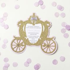 Carriage Invitations Princess Invitations, Party Invitations, 2nd Birthday, Birthday Parties, Cinderella Cupcakes, Prince Party, Gold Wedding, Christening, Party Party