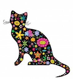 illustration silhouette of a cat with flowers and stars on the white background