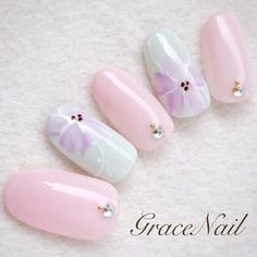 花柄ネイル パステルカラー ピンクネイル