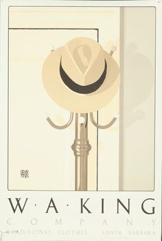 Original Vintage Poster W.A. King Santa Barbara Fashion David Goines 1985 SIGNED #Modernism