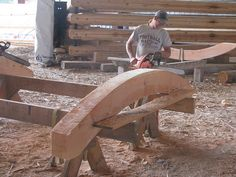 Ken Shapes a Curved Beam | Handcrafted Timber Frame | Lundgren Residence | Caribou Creek Log Homes by CaribouCreekLogHomes.com, via Flickr