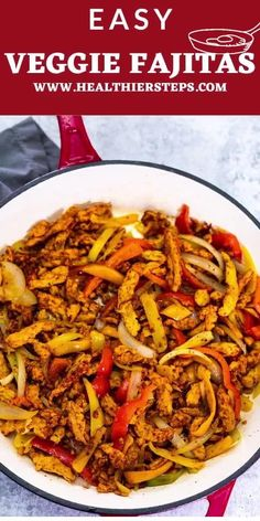 You will love these flavor-filled Fajita Veggies, made with soy curls as a meat substitute, to take a restaurant favorite to your home! Vegan Cabbage Recipes, Vegan Mexican Recipes, Tasty Vegetarian Recipes, Best Vegan Recipes, Best Dinner Recipes, Brunch Recipes, Veggie Recipes, Veggie Fajitas, Fajita Vegetables