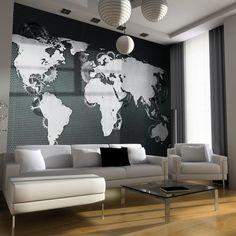 Contemporary grey world map wallpaper mural wallpaper murals papier peint intiss 350x270 cm top vente papier pein https gumiabroncs Image collections