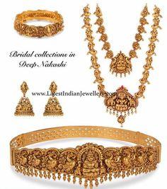 Nakshi necklace and haram with Lakshmi pendant, peacock jhumkas, Lakshmi and peacock design nakshi vaddanam and gold kada bangle. Indian Wedding Jewelry, Indian Jewelry, Boho Jewelry, Bridal Jewelry, Fashion Jewelry, Silver Jewelry, Etsy Jewelry, Crystal Jewelry, Diamond Jewelry