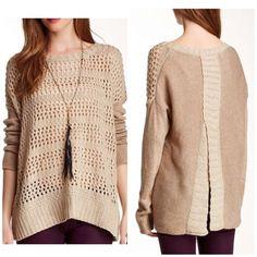 "Beige knit sweater. Long sleeve sweater• Crew neck• Back slit• Open weave knit construction• Rib knit trim.(27"" length) Heartloom Sweaters"