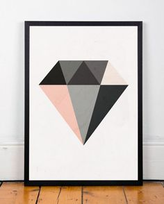 Diamond print Minimalist art Geometric print by ShopTempsModernes