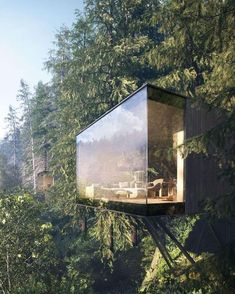 'revugia' is resort in the #forest by matthias arndt, ronny mähl, and krzysztof kuczyński designed to be perched among the trees. image by @lichtecht.de ⠀ ⠀ #architecture on #designboom
