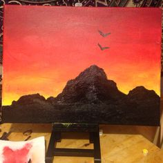 One of my first paintings #acrylic#canvas#painting#art#sunset#mountains