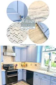 """Custom painted """"Summer Blue"""" cabinetry from our Durasupreme line is paired with Super White Brushed natural stone counters and a mirror and marble mosaic wall tile. Click through to see the full tour of this kitchen remodel feature on the Village Home Stores blog.   