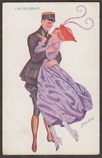 G8508 Xavier Sager postcard, Soldier and Woman hug, Series 40 #210 , Written on