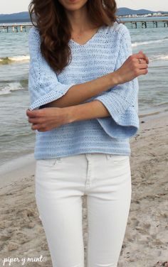 Camiseta hecha en crochet, de algodón - Tutorial Paso a Paso - piperymint.com