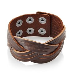 West Coast Jewelry Men's Distressed Weaved Cuff Bracelet - 7.75 inches