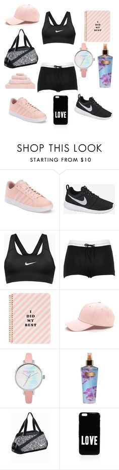 """""""black and pink sports"""" by theteress ❤ liked on Polyvore featuring adidas, NIKE, River Island, ban.do, Victoria's Secret, Givenchy and Hamam"""