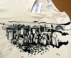 Montreal City Scape Women's V Neck Bat Top by AdvikaClothing, $80.00