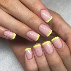 Bella Hadid's Modern Take on a French Manicure Involves a Lot of Color Manicure Colors, Nail Manicure, Pedicure, Nail Colors, Colour Tip Nails, French Manicure Short Nails, Manicure Ideas, Gel Uv Nails, Short Gel Nails