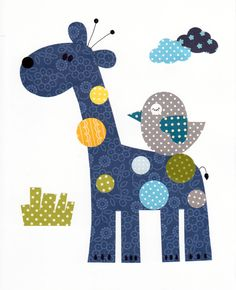 Patchwork Giraffe Colorful Animal Nursery Artwork Print by Applique Templates, Applique Patterns, Applique Quilts, Applique Designs, Quilt Patterns, Quilt Baby, Motifs D'appliques, Baby Applique, Baby Shower Presents