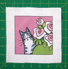 Cat Quilt Block Art Fabric/ Gray & White by SusanFayePetProjects, $3.50 #cat #fabric #crafts