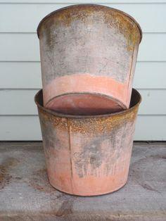 Pair Rustic Vintage Sap Buckets for Sugaring in Vermont - Primitve Decor