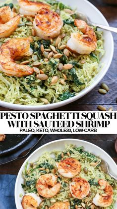 Pesto Spaghetti Squash with Shrimp - a quick, easy, healthy dinner recipe that is paleo, keto, whole30 and low-carb #glutenfree #paleo #whole30 #healthy #shrimprecipes #dinnerrecipes
