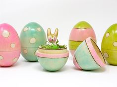 Wooden Easter Egg with Mini Bunny, bunny peg doll, hollow wooden egg, kids Easter, Easter basket, Easter bunny, Easter gift, bunny toy
