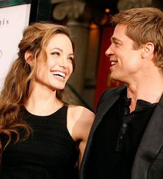 Angelina Jolie and Brad Pitt.At number 5 in our list of five most powerful couples in the world is Angelina Jolie and Brad Pitt. These celebrity couple is simple amazing. Angelina And Brad Pitt, Angelina Jolie Photos, Brad Pitt Pictures, Smile Pictures, Hollywood Couples, Celebrity Couples, Hollywood Stars, Lgbt, Secretly Married