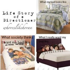 What I really want my bed to look like. Hahahaha. You see the bed with 1D pillows? Well, the comforter's picture......I have a HUMONGOUS poster of them in  my room!
