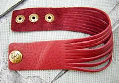 CLASSIC STYLE red cut Leather Cuff Bracelet brass by MicDesign0