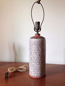 Vintage-Danish-Pottery-Lamp-Denmark-Glaze-Handmade-Earthenware-signed