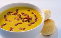 Roasted Butternut Squash Soup with Smoky Bacon